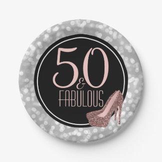 Prato De Papel 50 & festa de aniversário | de prata fabulosa do