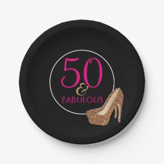 Prato De Papel 50 festa de aniversário preta cor-de-rosa fabulosa