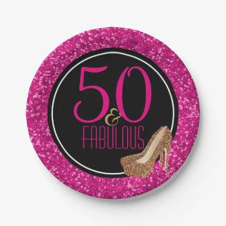 Prato De Papel 50 & festa de aniversário | preta fabulosa do rosa