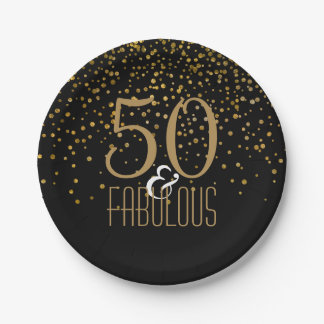 Prato De Papel 50 & ouro elegante fabuloso da festa de