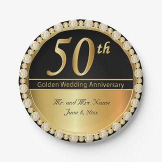 Prato De Papel 50th Aniversário de casamento dourado