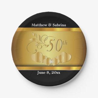 Prato De Papel 50th aniversário de casamento dourado elegante