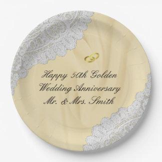 Prato De Papel 50th Cetim do falso do aniversário de casamento