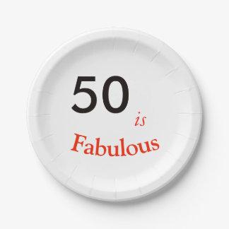 Prato De Papel 50th Placa de papel da festa de aniversário