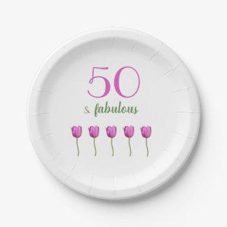 Prato De Papel 50th Tulipa magenta elegante da placa | do