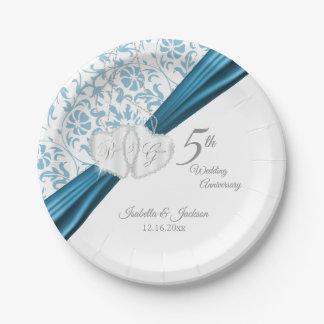 Prato De Papel 5o Design azul do aniversário de casamento