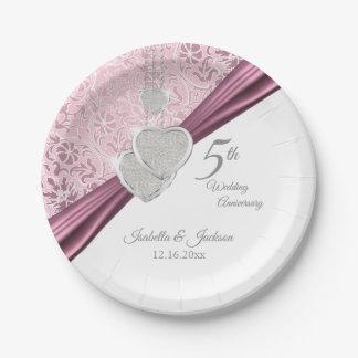 Prato De Papel 5o Design cor-de-rosa do aniversário de casamento
