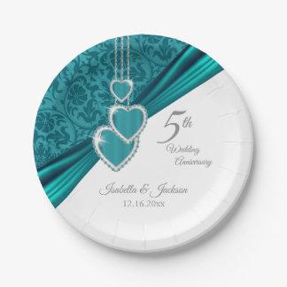 Prato De Papel 5o Design do aniversário de casamento de turquesa