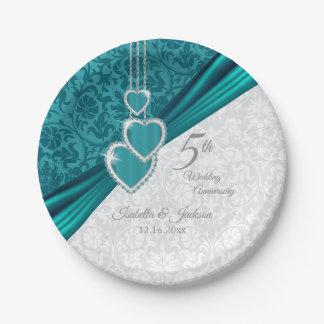 Prato De Papel 5o design elegante do aniversário de casamento de