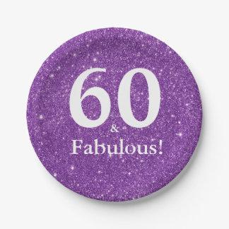 Prato De Papel 60 & fabuloso! Aniversário do brilho roxo Sixtieth