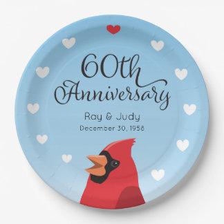 Prato De Papel 60th Aniversário, cardeal e corações de casamento