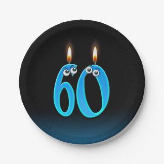 Prato De Papel 60th Aniversário com números iluminados da vela
