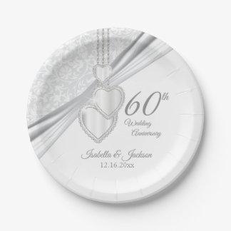 Prato De Papel 60th Aniversário de casamento do diamante no