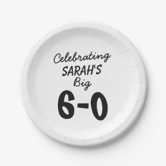 Prato De Papel 60th aniversário personalizado comemorando o 6-0