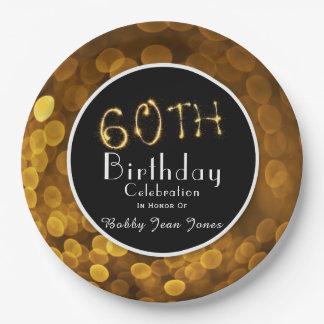 Prato De Papel 60th Faísca do ouro da festa de aniversário