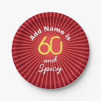 Prato De Papel 60th O aniversário personaliza a fonte engraçada