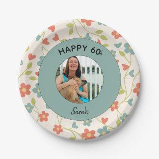 Prato De Papel 60th placas florais personalizadas felizes do