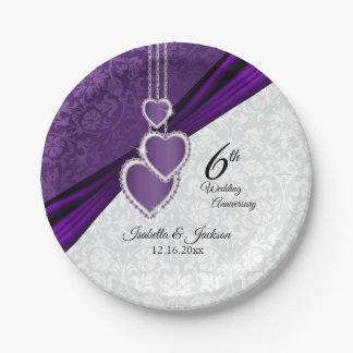 Prato De Papel 6o Aniversário de casamento roxo Amethyst