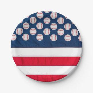 """Prato De Papel 7"""" basebol & placa de papel de bandeira americana"""