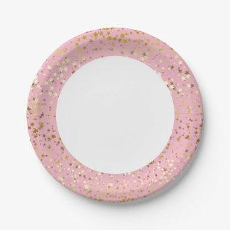 """Prato De Papel 7"""" o Placa-Ouro de papel Stars o rosa do cravo"""