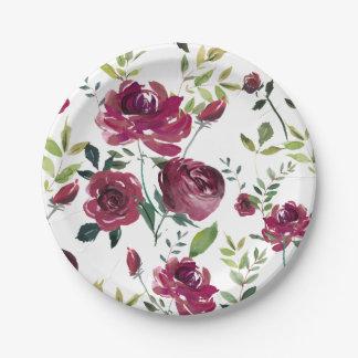 Prato De Papel A aguarela Borgonha floresce o teste padrão floral