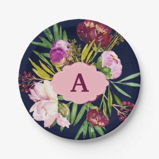 Prato De Papel A aguarela roxa das peônias floresce o monograma