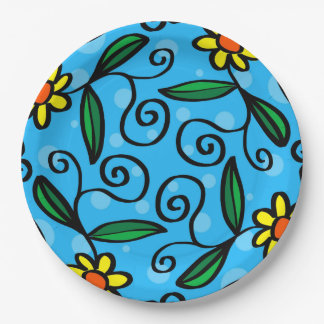 Prato De Papel A arte amarela do Doodle da flor projeta as placas