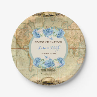 Prato De Papel A aventura espera Hydrangeas do azul do mapa do
