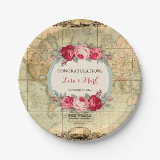Prato De Papel A aventura espera rosas do mapa do mundo do