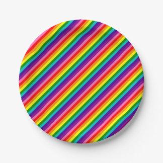 Prato De Papel A bandeira colorida do arco-íris listra o teste