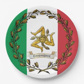 Prato De Papel A bandeira verde-oliva siciliano da grinalda de