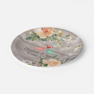 Prato De Papel A corda floral de madeira rústica ilumina o chá de