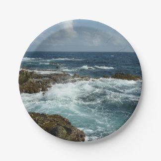 Prato De Papel A costa rochosa e o oceano azul de Aruba