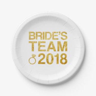 Prato De Papel A equipe 2018 da noiva