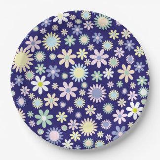 Prato De Papel A flor bonito e colorida floresce nas placas de