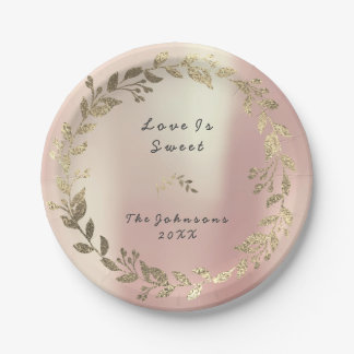 Prato De Papel A grinalda floral do ouro do rosa do rosa cora