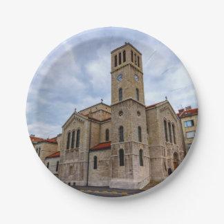 Prato De Papel A igreja de St Joseph em Sarajevo. Bósnia e Herz