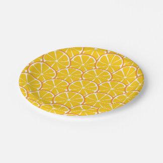 Prato De Papel A laranja do citrino do verão corta as placas de