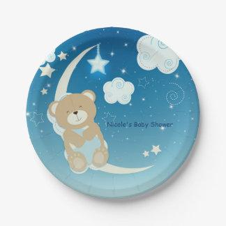 Prato De Papel A lua do urso de ursinho & o chá de fraldas das