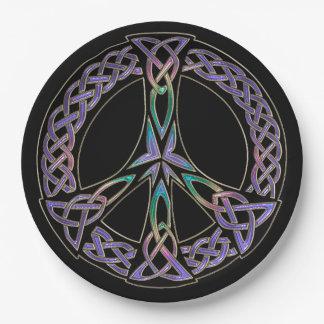 Prato De Papel A paz celta assina dentro a lavanda e o arco-íris