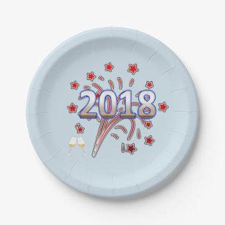 Prato De Papel A placa de papel 2018 do partido do ano novo stars