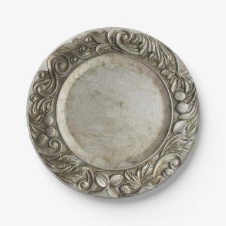 Prato De Papel A prata/peltre do vintage do falso levantou o