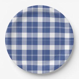 Prato De Papel A xadrez azul para Hanukkah exprime as placas de