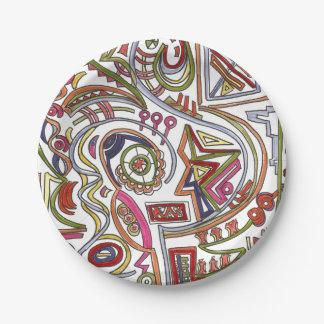 Prato De Papel Abstrato colorido musical lunático
