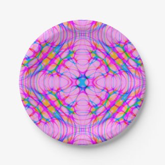 Prato De Papel Abstrato do teste padrão do caleidoscópio do rosa