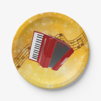 Prato De Papel Acordeão vermelho, notas musicais no fundo do ouro