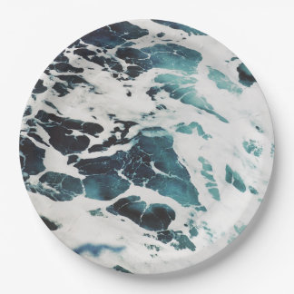 Prato De Papel água azul da natureza do mar das ondas de oceano