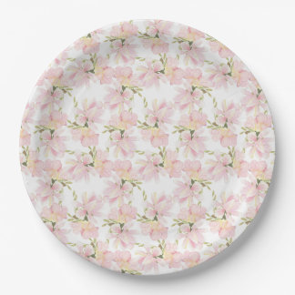 Prato De Papel Aguarela cor-de-rosa e verde floral