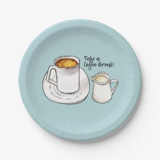 Prato De Papel Aguarela da ruptura de café e ilustração da tinta