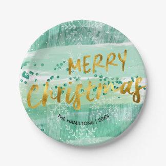 Prato De Papel Aguarela do Feliz Natal e folha de ouro verdes